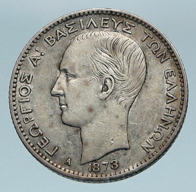 1873 GREECE with Young King George I Greek Antique Silver Drachma Coin i84110