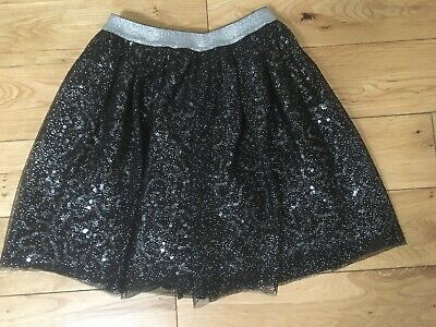 Beautiful George Black And Silver Sequin Tutu Style Layered Skirt 11-12 Years