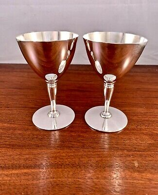 (2) Tiffany & Co. Sterling Silver Small Goblets #18885: No Monograms 205G