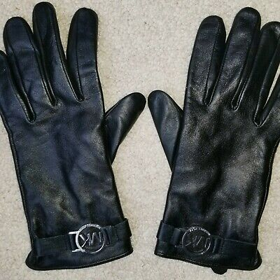 Authentic Michael Kors Black 100% Leather Women's Gloves with Silver Metal Logo