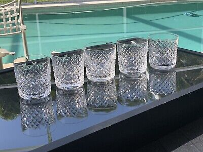 Set Of 5 Waterford Crystal Alana Old Fashioned Tumbler Glasses 9 Oz. 3 3/8""