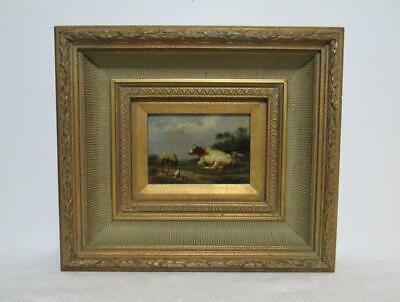 Continental Cow sheep chickens oil painting O/B Signed gesso carved wooden frame