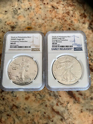 2020 (P) 1oz Silver Eagle Early Release And Brown Label. You Get Both.