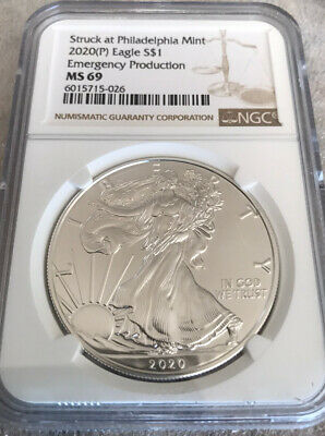 2020 (P) 1oz Silver Eagle Struck at Philadelphia $1 Coin NGC MS69 . Brown Label