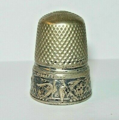 Antique Vintage SILVER SEWING THIMBLE with BIRDS, FLOWERS, VINES & SHIELD DESIGN