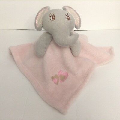 Grey Elephant Pink Security Blanket Lovey Heart Patch Plush