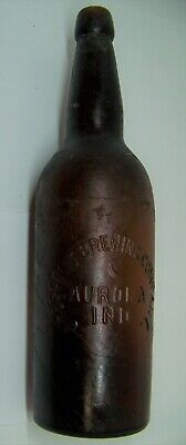 Aurora Indiana IN Crescent Brewing embossed blob top quart beer bottle w picture