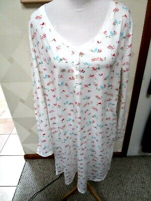 Charter Club-White/Multi-Color-Birds-Henley Neck- Night Gown-Size-Xl-Nwt-$36