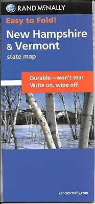 New Hampshire & Vermont, Easy-to-Fold, Laminated State Map, by Rand McNally (Fol