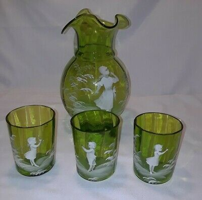 Mary Gregory Green Glass Pitcher and 3 Tumblers