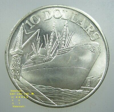SINGAPORE $10 DOLLAR 1975 SILVER BU CROWN 10th INDEPENDENCE SHIP 96# MONEY COIN