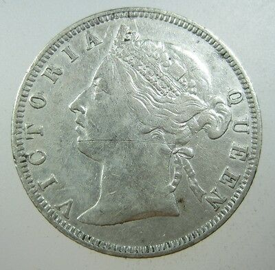 Straits Settlements 20 Cents 1898 Silver British Malaysia Singapore 04# Coin