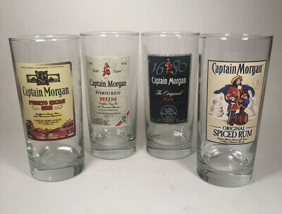 Captain Morgan Rum Highball Glass set of 4 glasses