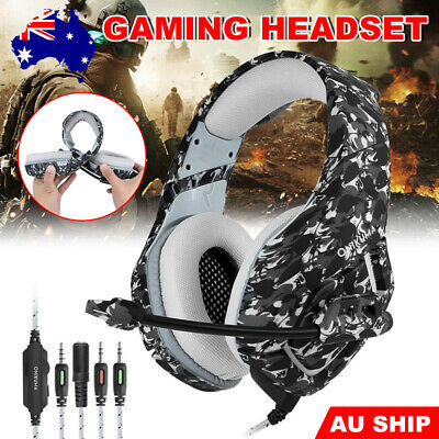 ONIKUMA K1 Mic Stereo Bass Surround Gaming Headset for Laptop PS4 Xbox One Camo
