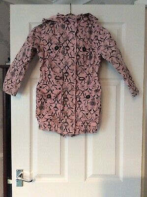 Girls  Pink Patterned Hooded Coat Age 7-8 From Very