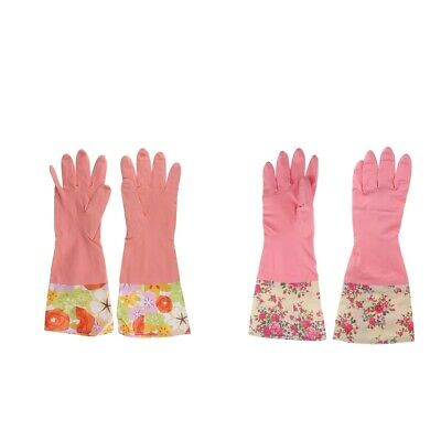 NEW 4x Kitchen Dishwashing Latex Cleaning Gloves Household Long Gloves