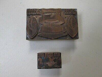 Lot Of 2 Asbestos Sad Iron Letterpress Printing Blocks In Good Condition