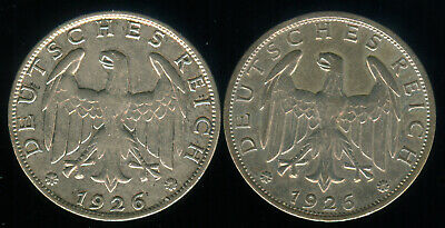 1926 A & 1926 E Silver Germany, Weimar Marks