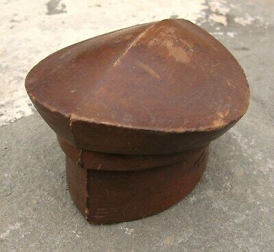 Antique Wood block hat mold millinery form Small