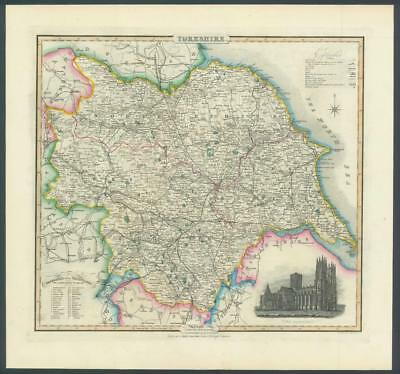 1846 - Original Antique Map of YORKSHIRE by Slater YORK CATHEDRAL Colour