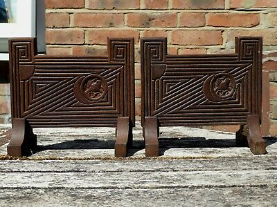 Pair Antique Aesthetic Movement Thomas Jeckyll Cast Iron Fire Dogs Arts & Crafts