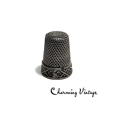 Antique Ornate Sterling Silver Thimble Size 8 Hallmarked