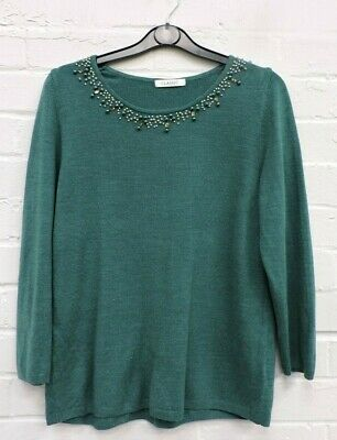 Ladies Marks & Spencer Teal Green Long Sleeved Top Size UK 10 #R21-CE