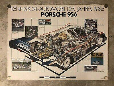 1982 Porsche 956 Exposed View Cutaway Showroom Advertising Sales Poster RARE! VG