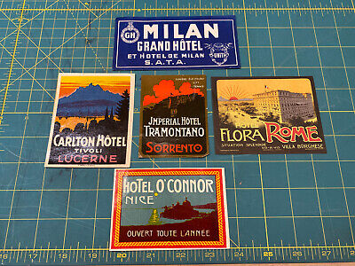 Vintage Hotel Luggage Labels Decals Stickers - European Mixed Lot