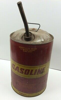 Vintage Huffy 6.5 Gallon Metal Gasoline Can Dome Top w/ Spout Great Advertising