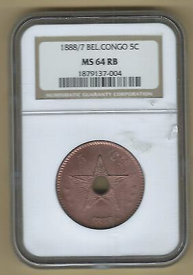 1888/7 Belgian Congo 5 cents NGC MS64RB