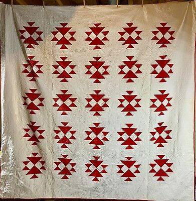 "Antique Red and White ""Double X"" Quilt ~ 82x82"