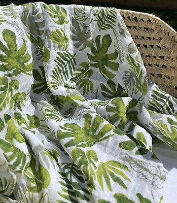 New Leaf Print Muslin Swaddle 100% Organic Cotton