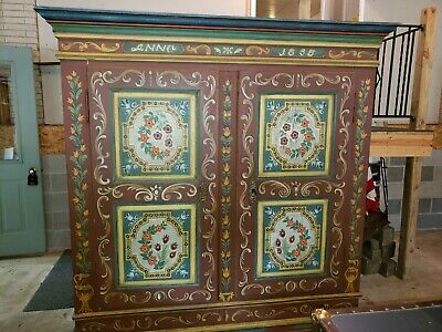 Antique Hand Painted Anno 1858 Wardrobe or Armoire Dresser/ Bedroom Furniture