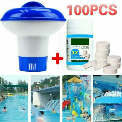 Pool Cleaning Tablet(100 PC)Floating Chlorine Hot Tub Chemical Dispenser Cleaner
