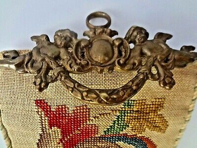 Antique Needlepoint Bell Pull With Ornate Brass Hardware With Cherubs Putti