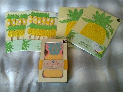 New Marks & Spencer Pineapple Set Garlands, Wooden Picks & Playing Cards
