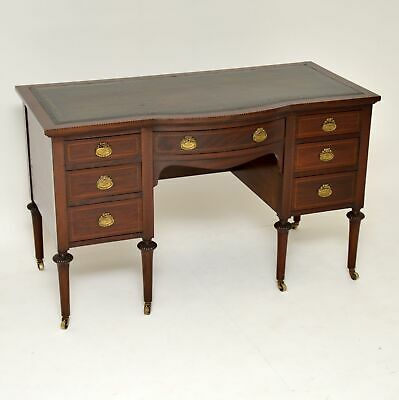 Antique Inlaid Mahogany Leather Top Desk
