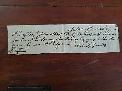 """1777 Revolutionary War Pay for """"Engaging In Three Years Service"""", Capt. Abbot"""