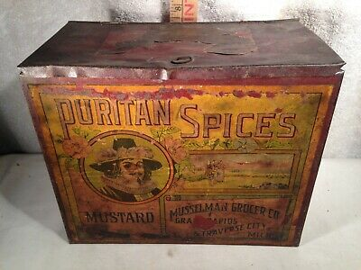ANTIQUE PURITAN MUSTARD SPICE TIN w/ PAPER LABEL Michigan COUNTRY STORE GROCERY