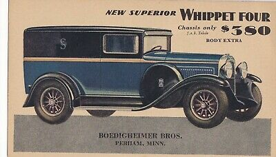 "1929  WILLYS-OVERLAND new superior "" WHIPPET FOUR ""  4  panel  delivery vehicle,"