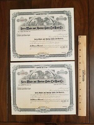 2 1896 Sierra Madre / Antelope Valley California Toll Road Stock Certificates