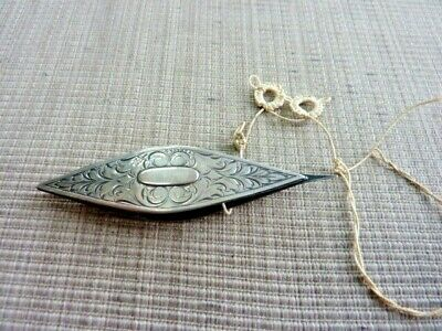 Antique Sterling Sewing Tool Tatting Shuttle With Tatting Started (41299)