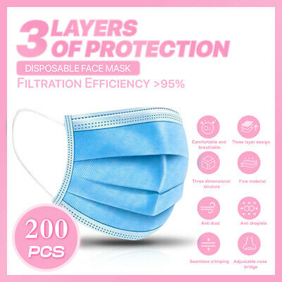 200PCS 3-PLY Layer Disposable Face Mask Dust Filter Safety Protection Non-Woven
