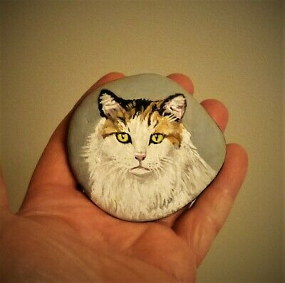 Original Hand Painting Calico Cat On River Rock