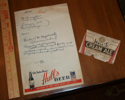 beer paper & label HULL'S LAGER BEER & CREAM ALE New Haven CT SHOWS RARE CAN!