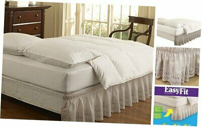 Easy Fit 11578TWIN//FULLIV Wrap Around Eyelet Ruffled Twin//Full Bed Skirt 75-Inch by 39-Inch with 18-Inch drop Ivory Ellery Homestyles