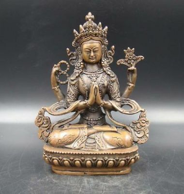 Exquisite Old Handmade Carving Statue Buddha India Copper Brass Bronze
