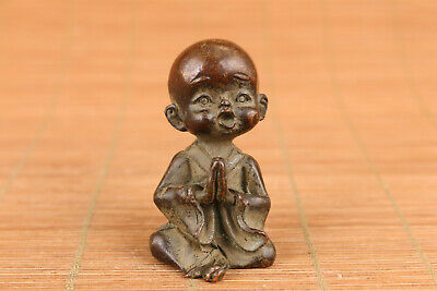 chinese bronze buddha monk boy blessing statue figure table decoration