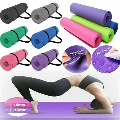 Extra Thick Non-slip Yoga Mat Pad Exercise Fitness Pilates w/ Strap